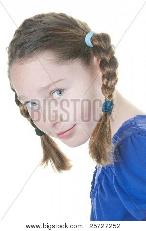shy girl with hair braids