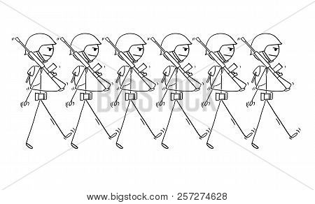 Cartoon Stick Drawing Conceptual Illustration Of Modern Soldiers Marching On Parade Or In To War. Co