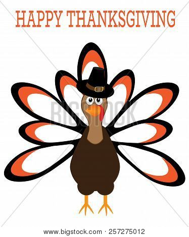 Vector Illustration Of Thanksgiving Turkey. Thanksgiving Day Background.