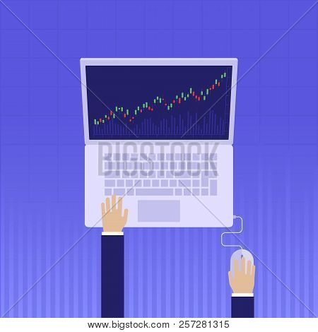 Stock Market Analysis,finance.flat Style Illustration.money Investing. Investment Banking.futures Ma