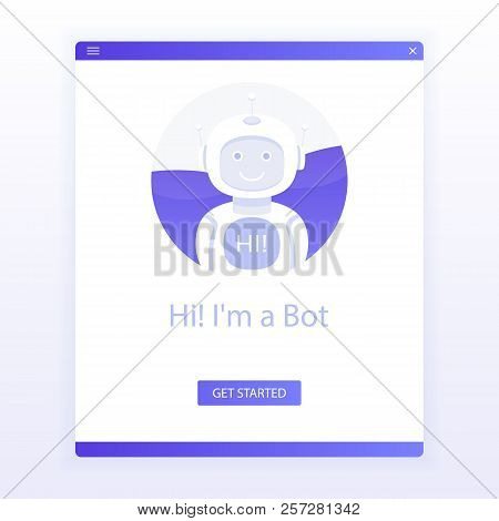Cute Smiling Robot,chat Bot Say Hi..isolated On White Background For Website. Voice Support Service