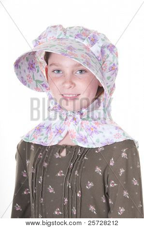 Wholesome girl in bonnet