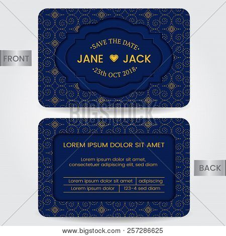 Wedding Invitation Card Or Template For Save The Date, Member Card, Birthday Card, Greeting Card. Ve
