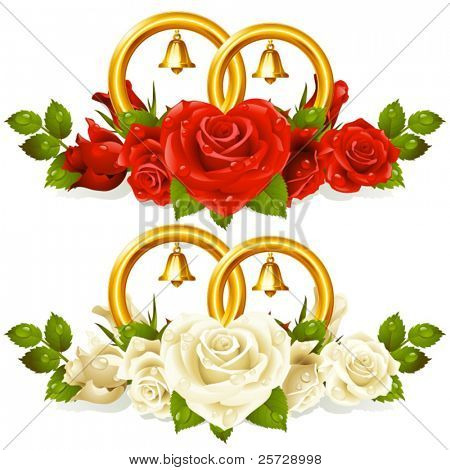 Wedding rings and bunch of roses 2