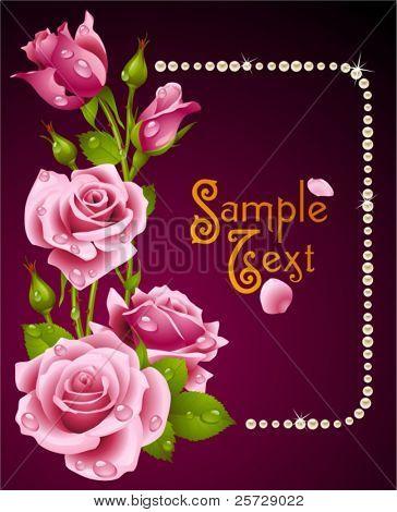 Vector rosa Rose und Perlen frame