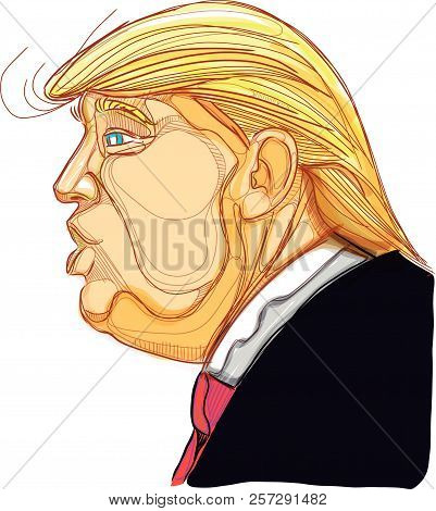 Dallas, Texas / United States - 09 / 05 / 2018: Digital Vector Hand Drawn Illustration Of Mr. Donald