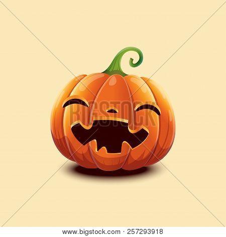 Happy Halloween. Realistic Vector Halloween Pumpkin. Happy Face Halloween Pumpkin Isolated On Light