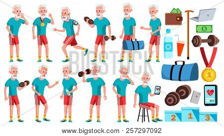 Old Man Poses Set Vector. Elderly People. Senior Person. Aged. Sport, Fitness. Comic Pensioner. Life