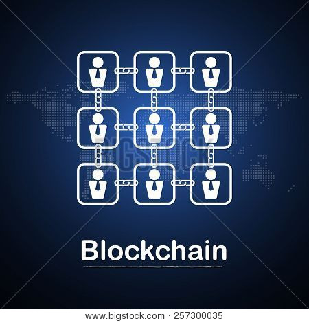 Blockchain Technology Businessman Fintech Cryptocurrency Block Chain Company Server Abstract Backgro