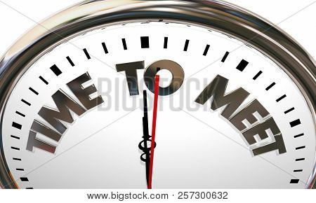 Time to Meet Get Together Meeting Group Clock 3d Illustration