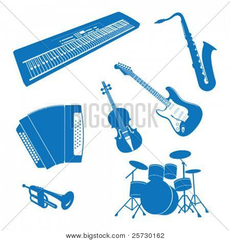 Vector illustration of Musical Instruments