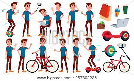 Teen Boy Poses Set Vector. Emotional, Pose. For Advertising, Placard, Print Design. Isolated Cartoon