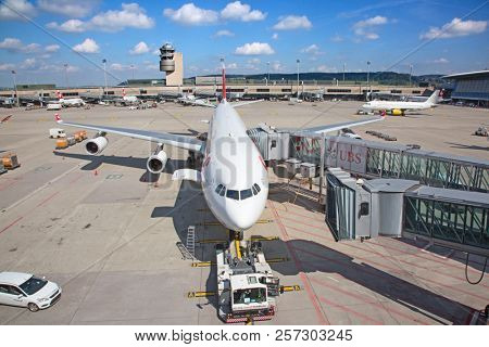 ZURICH - September 08:  Planes preparing for take off at Terminal A of Zurich Airport on September 8, 2018 in Zurich, Switzerland. Zurich airport is home port for Swiss Air and european hub.