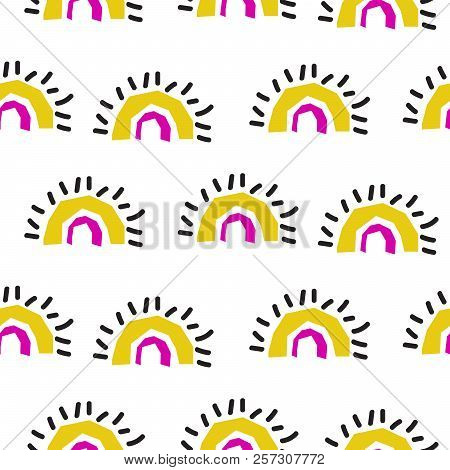 Abstract Rainbow Fans Seamless Vector Pattern. Yellow Archs Repeat Abstract Shape Background.
