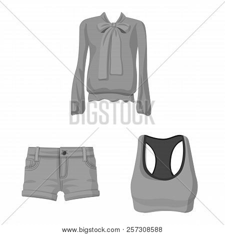 Vector Illustration Of Woman And Clothing Symbol. Collection Of Woman And Wear Stock Symbol For Web.