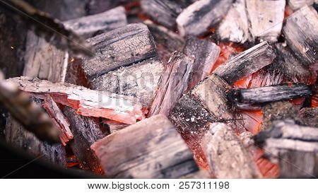 Red Hot Burning Charcoal Preparing For Grilling, Barbecue Grill. Preparation Of Coals On The Barbecu