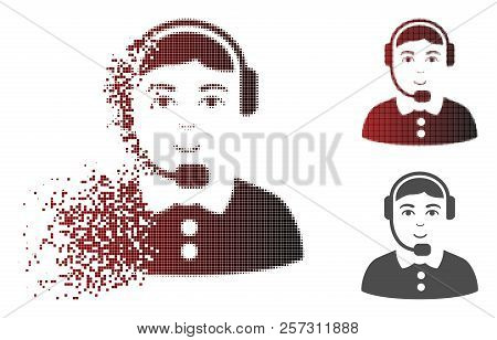 Call Center Icon With Face In Dispersed, Pixelated Halftone And Undamaged Solid Variants. Fragments