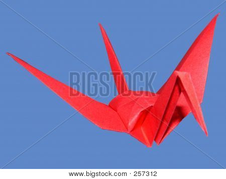 Red Paper Folded Crane