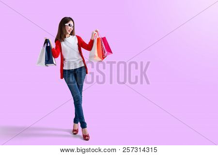 Young Happy Summer Shopping Woman With Shopping Bags Isolated , Portrait Of Young Happy Smiling Woma