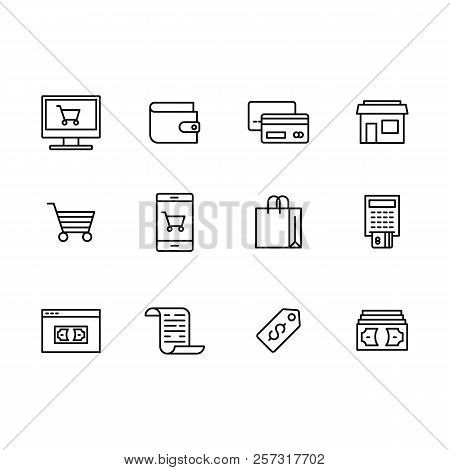 Vector Icon Set Internet And Mobile Shopping, Online Store, Mobile App For Online Payment By Credit