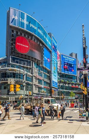 Toronto,canada - June 25,2018 - In The Streets Of Toronto Downtown. Toronto Is The Capital City Of T