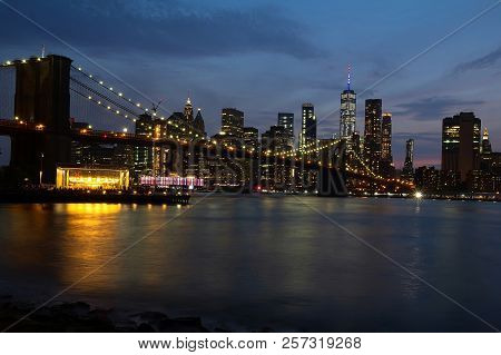 Evening View With Brooklyn Bridge And Manhattan Skyline. New York City.