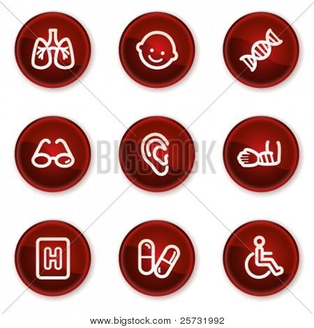 Medicine web icons set 2, dark red circle buttons