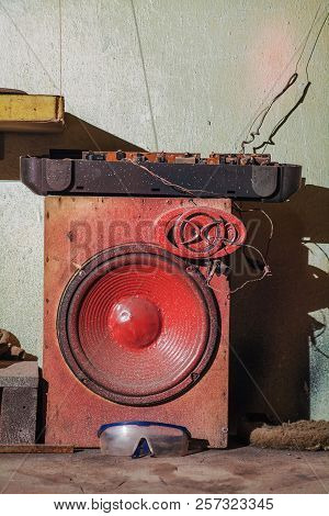Grunge And Industrial Texture With Old Loudspeaker