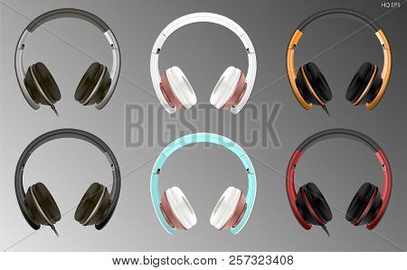Realistic High Quality Modern Headset Wired Or Wireless. Digital Dj Headphones Vector Illustration.