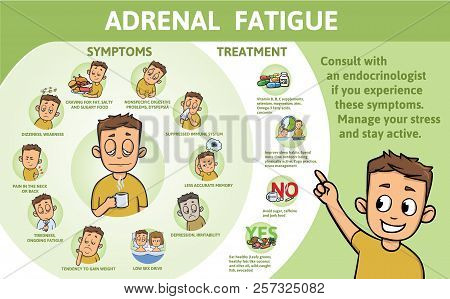 Adrenal Fatigue Symptoms And Treatment. Information Poster With Text And Character. Flat Vector Illu