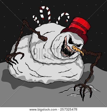 Snowman. Angry Snowman. Vector Of A Scary, Terrible Snowman. Hand Drawn Evil Snowman.