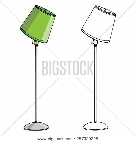 Lamp. Vector Of A Floor Lamp. Hand Drawn Lamp Floor Lamp.