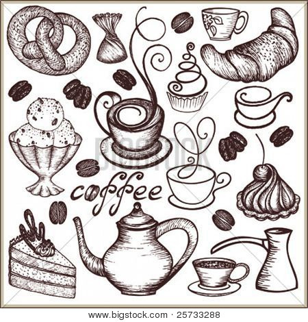 Doodle set coffee and sweets