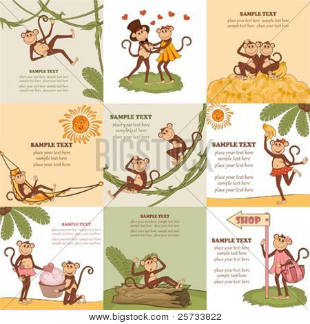 Set of children cheerful cards with monkeys