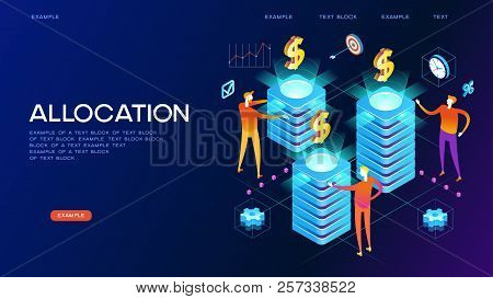 Allocation Concept. Modern 3d Isometric Vector Illustration Of Web Page.  Design Concept.
