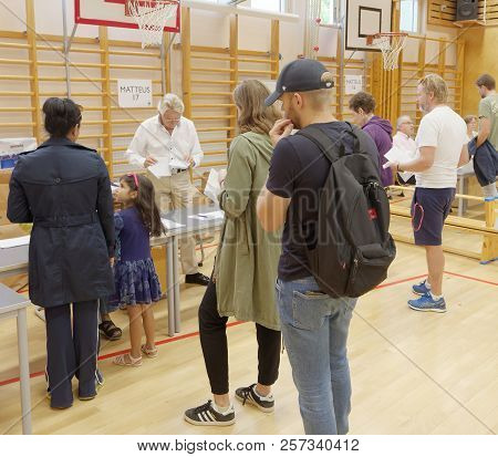 Stockholm, Sweden - Sep 09, 2018: People Voting In The General Elections In Sweden 2018, September 0