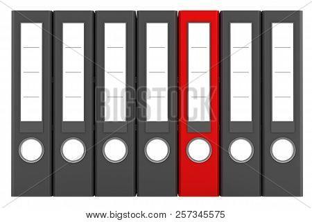 Red File Folder Among Similar Gray Folders Isolated On White Background. 3d Illustration