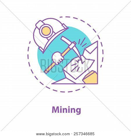 Mining Industry Concept Icon. Minerals Extraction Idea Thin Line Illustration. Pickaxe Breaking Rock