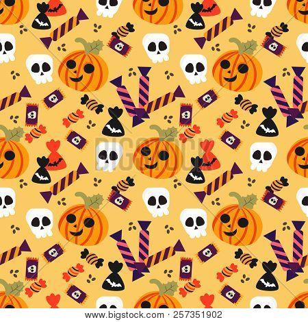 Halloween Pumpkin And Candy Seamless Pattern. Cute Halloween Concept.