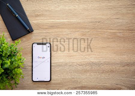 Alushta, Russia - August 22, 2018: Iphone X With Social Networking Service Google On The Screen And