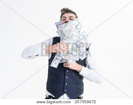 Bribe&corruption Concept. Dealing In Illegal. Bearded Businessman Hiding Money In Waistcoat. Concept