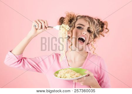 Woman Eating Noodles. Woman Hold Plate With Vermicelli. Sexy Girl Eating Instant Noodles. Beautiful
