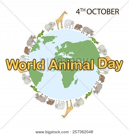 World Animal Day, 4 October. Banner World Animal Day With With Wild Animals And Planet Earth. Animal