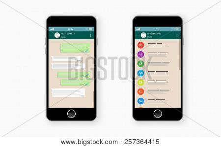 Social Network Concept. Blank Template. Chatting And Messaging. Sms Messages Sending. Vector Modern