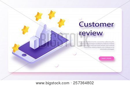 Customer Review Concept. Feedback, Reputation And Quality Concept. Hand Pointing, Finger Pointing To
