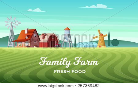 Colorful Countryside Landscape With A Beautiful Farm Village. Rural Location. Wheat Field. Farm Land