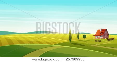 Rural Landscape With Village House On Green Fields And Rye Fields.