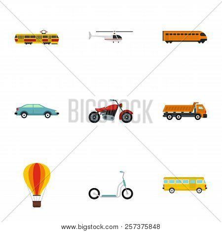 Transportation Facilities Icons Set. Flat Illustration Of 9 Transportation Facilities Icons For Web