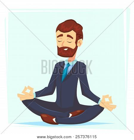 Illustration Of A Calm, Young Cartoon Businessman Sitting Cross-legged, Smiling And Meditating Vecto
