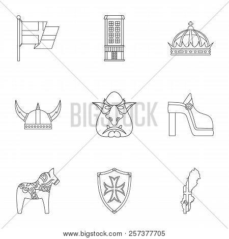 Tourism In Sweden Icons Set. Outline Illustration Of 9 Tourism In Sweden Icons For Web